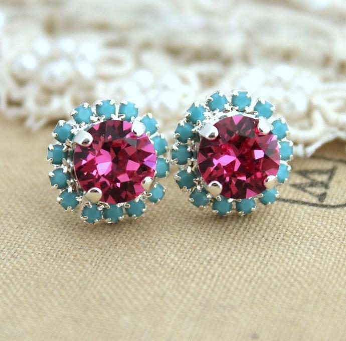 Swarovski Turquoise Pink Studs Bridesmaids Earrings Bridal Jewelry Silver