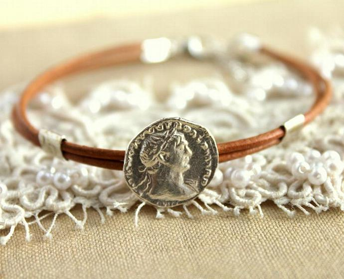 Silver Coin Leather Bracelet - Real 925 Silver Roman Coin Elegant Beautiful