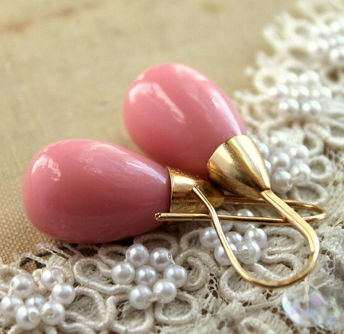 Pink Gold Majorica Pearl Earrings Bridesmaid Jewelry 14k Vermeil Gold Spring