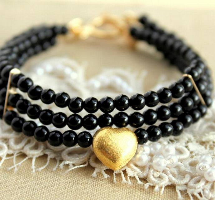 Black Gold 14k Filled Bracelet Onyx Gemstone Heart Silver Woman Wedding Gift