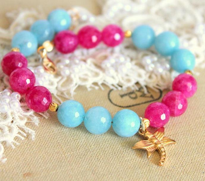 Women Pink Aqua Semi Precious Agate Elegant Gemstone Bracelet Agate 14k Gold