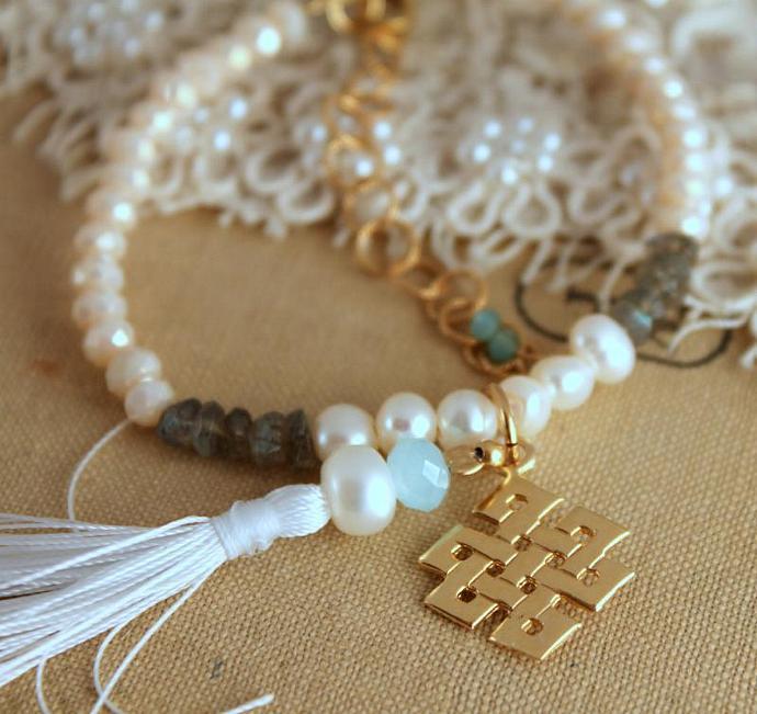 Tibetan Knot Infinity Pearls Gems Boho Hippie Bracelet Hand Made Talisman