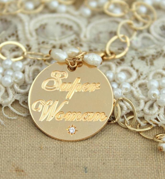 Super Woman Bracelet Wife,Mother,Daughter,Sister 14k Gold Filled Cz Zircon