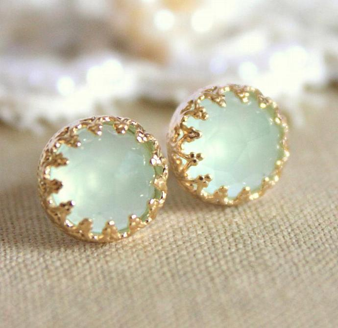 Wedding Bridel Elizabeth Green Aquamarine Gem Stone Earrings Vintage Women