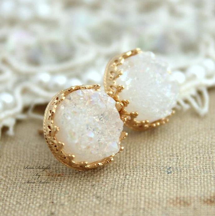 Golden Studs White Druzy Wedding Earrings 14k Gold Crown Gemstone Jewelry