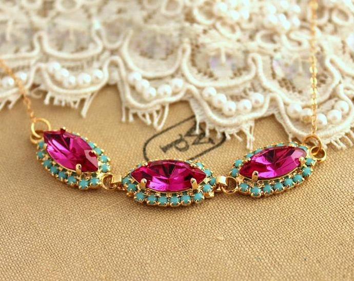 Crystal Pink Turquoise Swarovski Necklace Wedding Jewelry Bride - 14k Gold