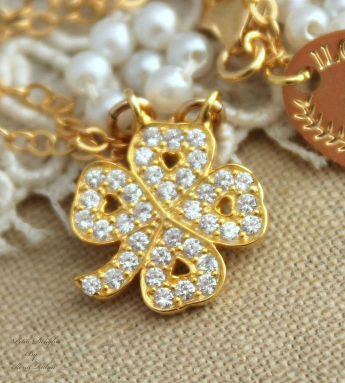Clover Dainty Gold Zirconia Necklace Luck Amulet Talisman Jewelry - 14k Gold