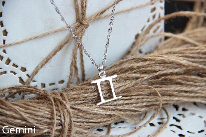 Gemini Necklace, Gemini Zodiac, Gemini Charm Necklace, Silver Charm Necklace,