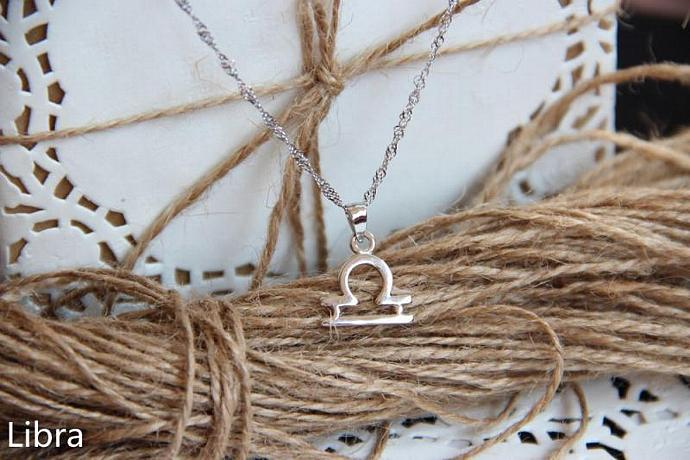 Libra Necklace, Libra Zodiac, Libra Charm Necklace, Silver Charm Necklace,