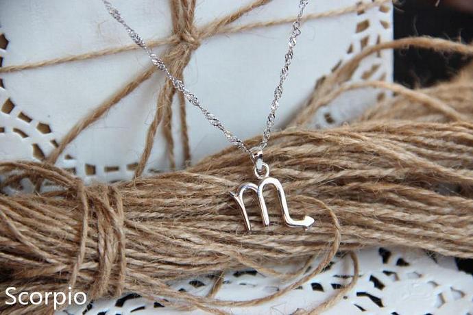 Scorpio Necklace, Scorpio Zodiac, Scorpio Charm Necklace, Silver Charm Necklace,