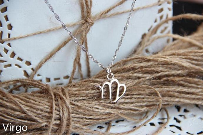 Virgo Necklace, Virgo Zodiac, Virgo Charm Necklace, Silver Charm Necklace,