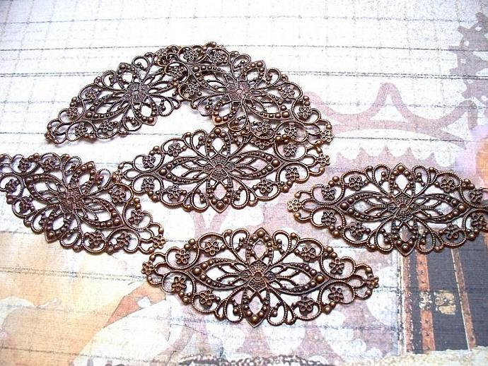 6 pcs. Copper Filigree 8x3.5cm. Item# FLC-01
