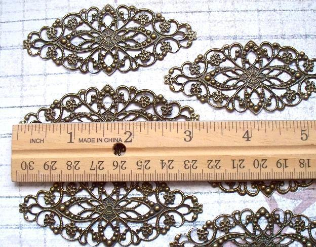 6 pcs. Antique Bronze Filigree 8x3.5cm. Item# FLB-04