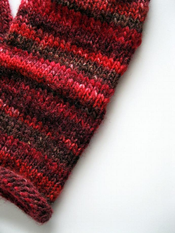Red mittens, ladies, acrylic, medium