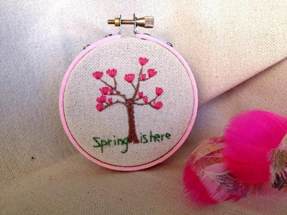 Spring is here blooming rose magnolia tree floral natural embroidery hoop wall