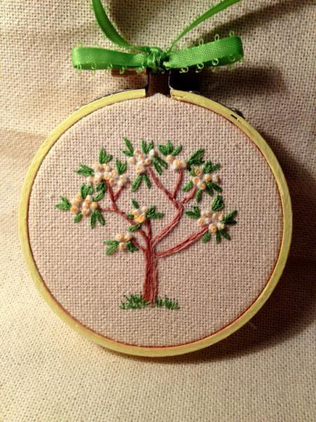 Tree in bloom spring floral design embroidery. Spring fever, Easter, April,