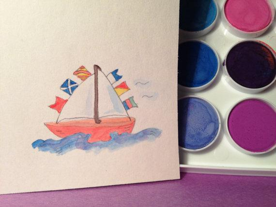 Cards with colorful sailboats. Set of 3. Boats are decorated with bright flags