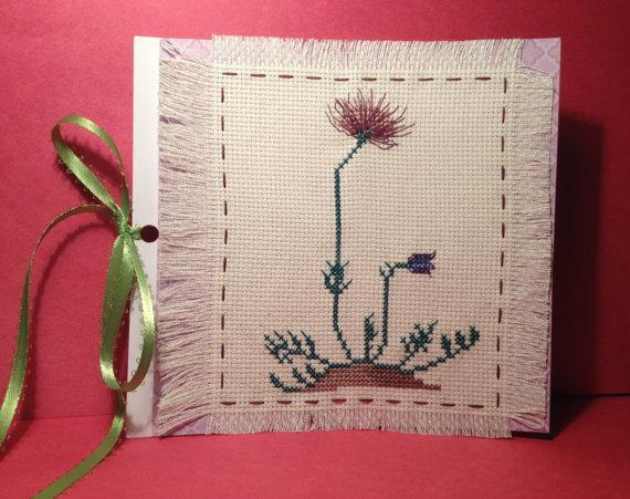 Floral spring fever nature embroidery card. Excellent Easter, March and April