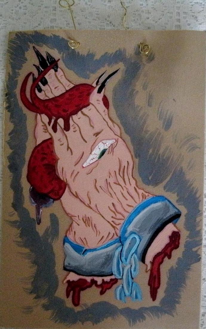 Demon Hands Painting,  fine art, surreal, manga, gothic, fantasy, rockabilly,