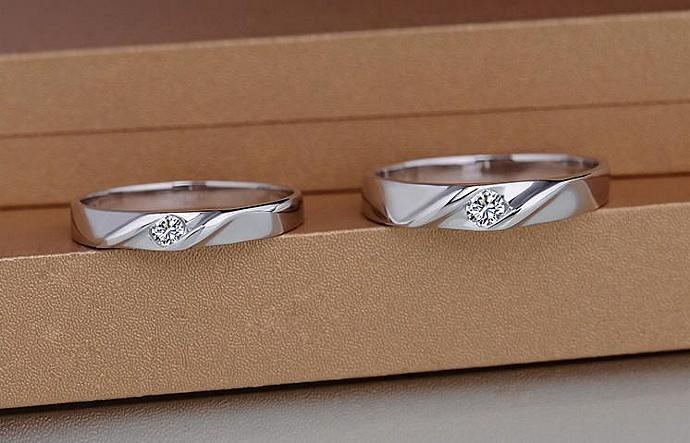 2pcs-Free Engraving Swiss diamond,platinum promise rings.lovers rings,wedding