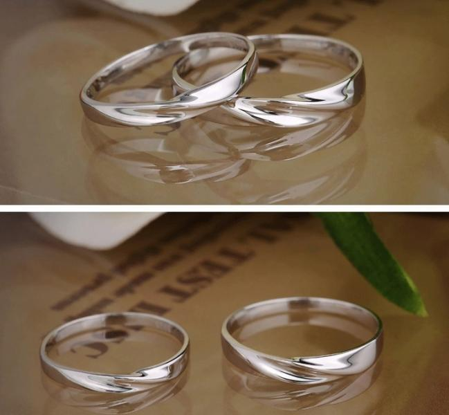 2pcs Free Engraving-Platinum Plating rings, Wedding Couple Rings, Lovers rings,