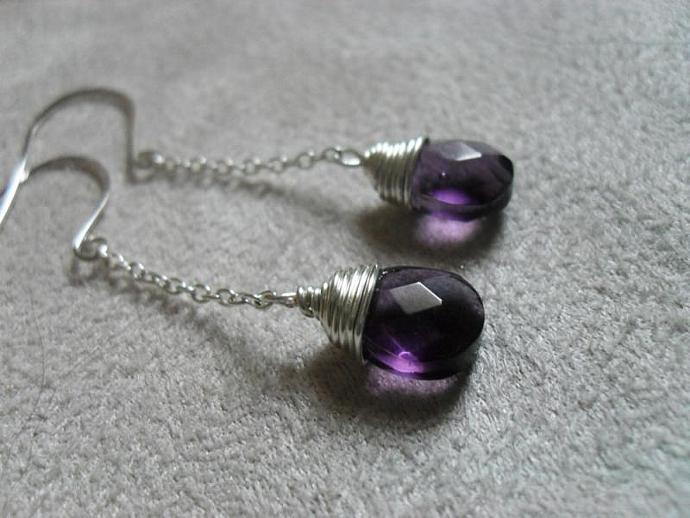 Purple Art Glass Earrings - Handmade Beaded