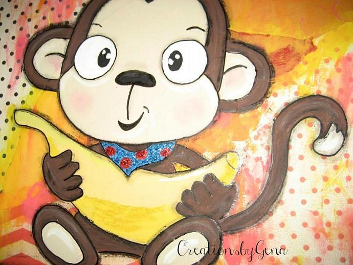 Baby Monkey Mixed Media Artwork whimsical folk art for kids room decor baby