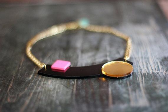 Black Geometric Necklace,Plexiglass Jewelry,Statement Necklace, Choker,Lasercut