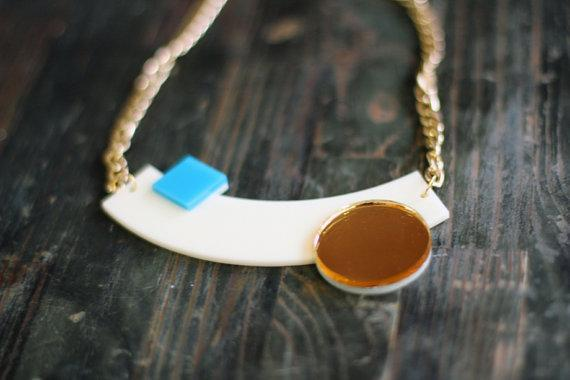 Cream Geometric Necklace,Plexiglass Jewelry,Statement Necklace,Choker,Lasercut