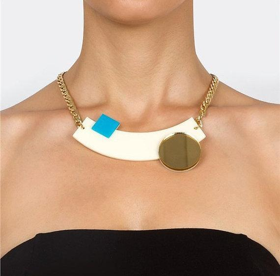 Cream Geometric Necklace,Plexiglass Jewelry,Statement Necklace,Choker,Lasercut