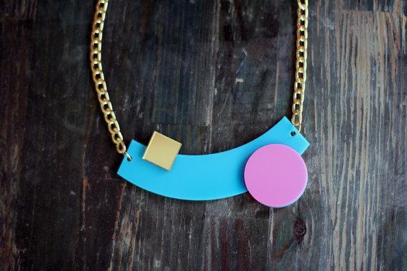 Turquoise Geometric Necklace,Plexiglass Jewelry,Statement