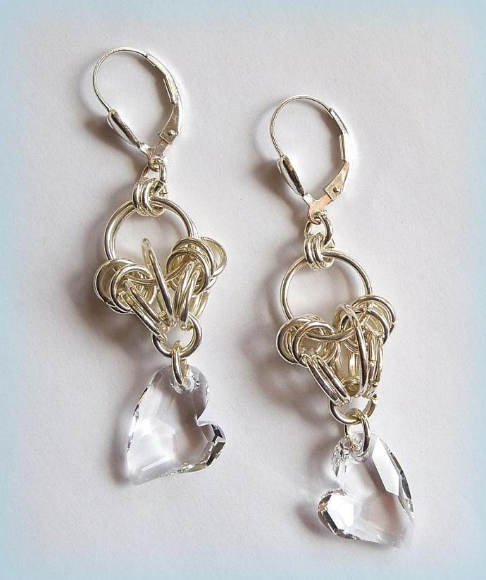 Earrings Chained Hearts