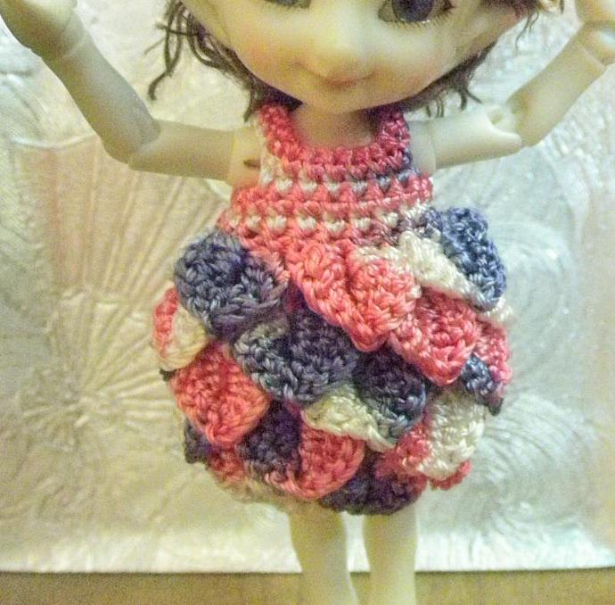 Pink & Purple Real Puki scaled feathered dress & hat