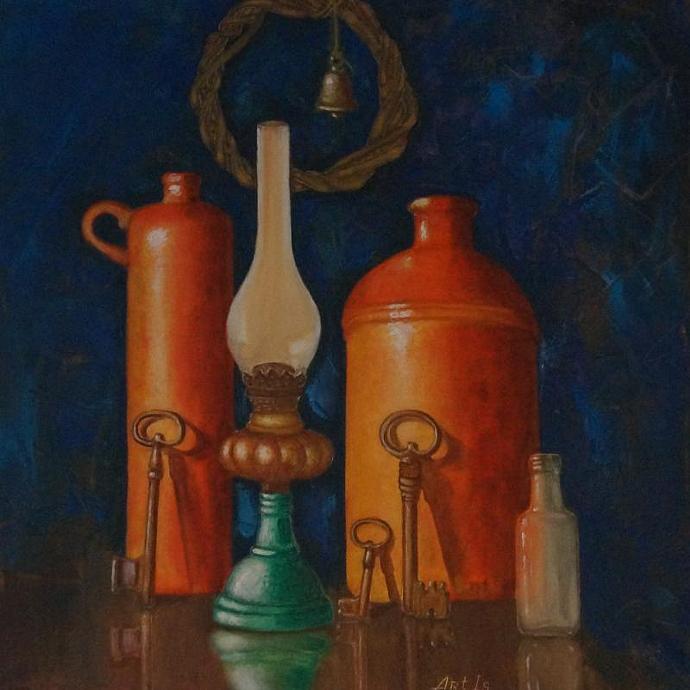 Still life / Bottles and old oil lamp