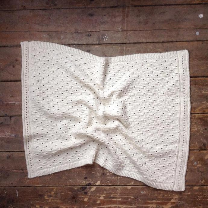 Baby Blanket Natural hand knitted merino with lace pattern