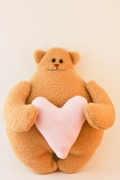 Bear with heart, fleece toy