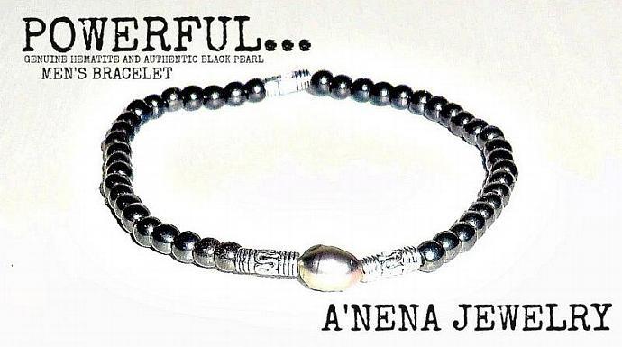"Mens Bracelet Hematite and Black Pearl ""Powerful"" By Anena Jewelry"