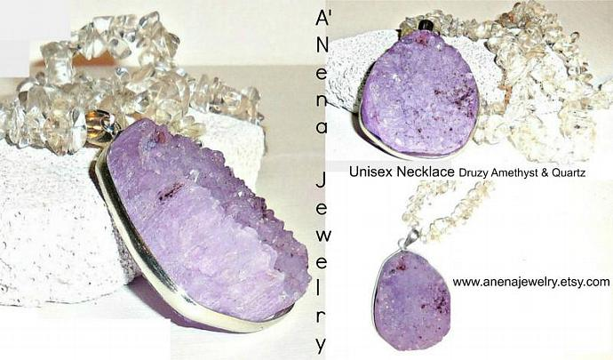 Unisex Necklace Genuine Druzy  Amethyst & Natural Quartz