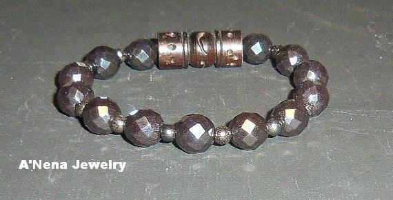"Unisex  Bracelet Faceted Hematite and Carved wood ""I am Balanced"""