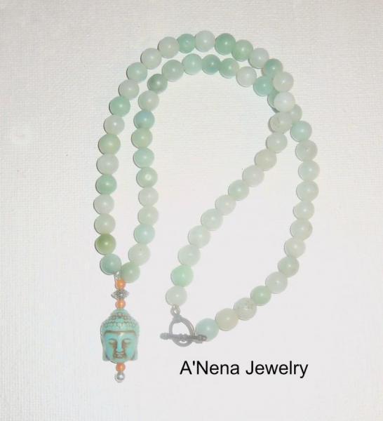 "Unisex Necklace: Buddha Howlite, Amazonite,Quartzite and  ""Courage and Peace"""
