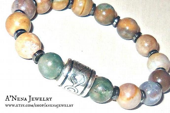 Bracelet For Men Genuine Assorted Colors of  Fancy Jasper, Hematite and