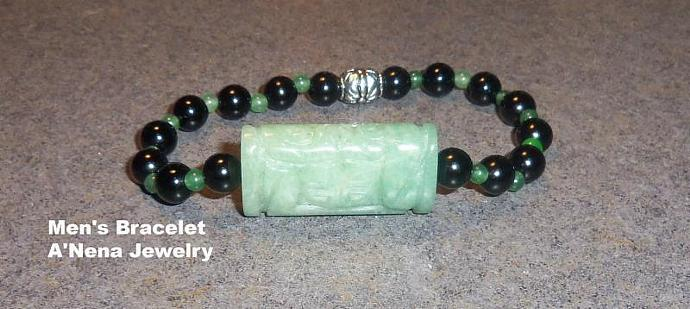 "Men's Bracelet: Aventurine, and  Jasper   ""Gratitude"""