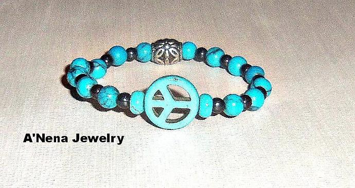 "Unisex Bracelet  ""PEACE"" Genuine Turquoise, Hematite and Howlite Peace Sign"