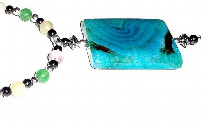 Unisex Necklace- Genuine Semi-Precious Gemstones Fire Agate, Hematite,