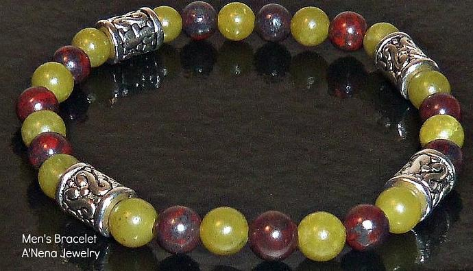 "Men's Bracelet   Green Quartzite and Burgundy Brecciated Jasper "" Manifest"""