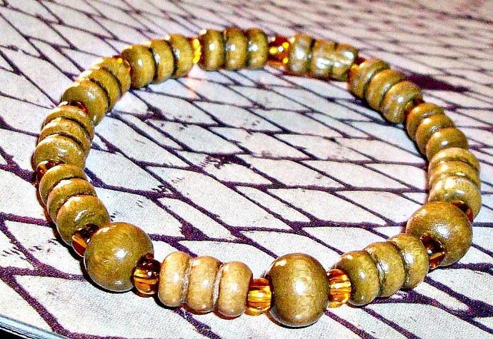 """Unisex Bracelet: Genuine Wood and Quartzite  """"I Am Strong """""""
