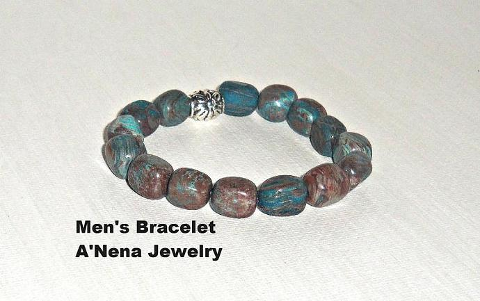 "Mens Bracelet  Quartzite and  Silver Plated Copper beads "" Inner Knowing"" Machu"