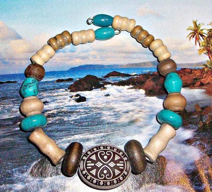 "Tribal Unisex Bracelet:   Genuine Howlite  And Wood "" Never Alone"""