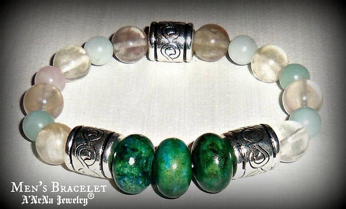 """Men's Bracelet Imperial Jasper, Fluorite & Amazonite  """"Assertive"""""""