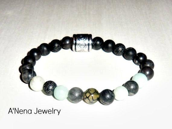 "Unisex Bracelet: Amazonite, Fire Agate and Network Beads ""I Am Able To Forgive!"""